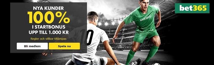 Betting bonus hos Bet365 för svenska spelare